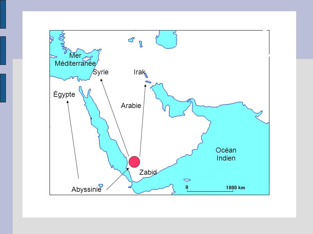 Océan Indien Arabie Égypte Mer Méditerranée Zabid Abyssinie SyrieIrak