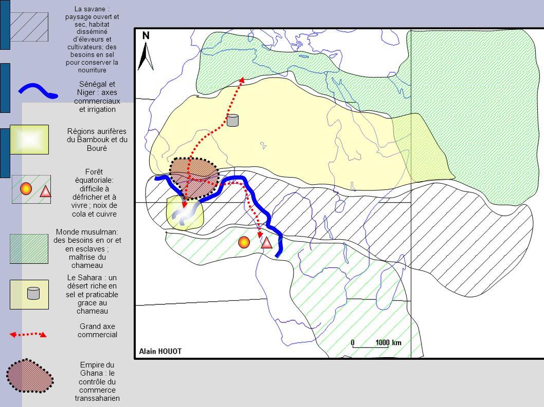 Monde musulman: des besoins en or et en esclaves ; maîtrise du chameau La savane : paysage ouvert et sec, habitat disséminé d'éleveurs et cultivateurs