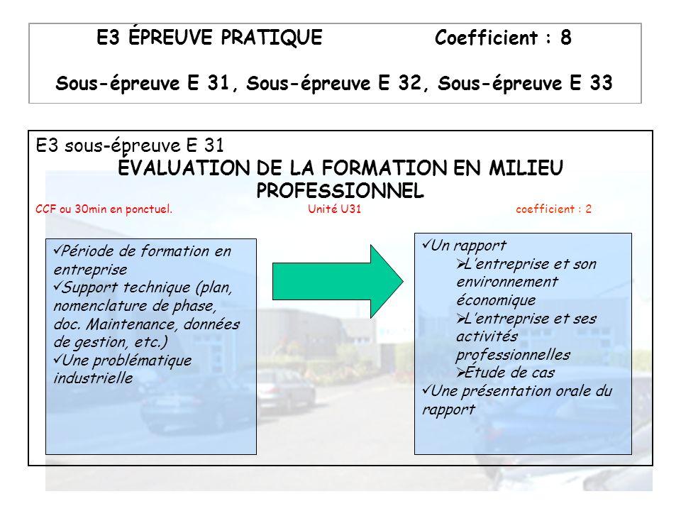 E3 sous-épreuve E 31 ÉVALUATION DE LA FORMATION EN MILIEU PROFESSIONNEL CCF ou 30min en ponctuel. Unité U31 coefficient : 2 Période de formation en en