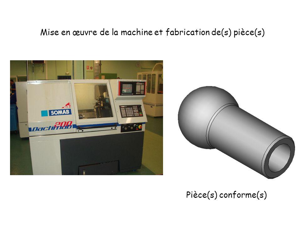 Mise en œuvre de la machine et fabrication de(s) pièce(s) Pièce(s) conforme(s)