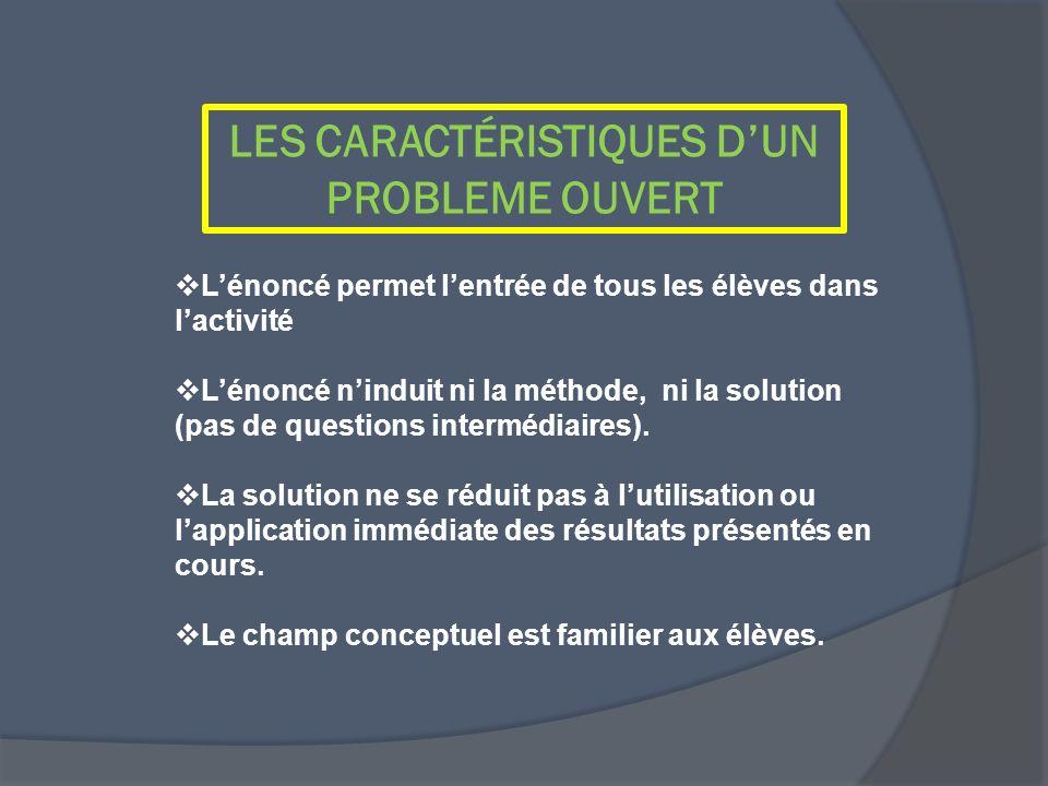 LES CARACTÉRISTIQUES DUN PROBLEME OUVERT Lénoncé permet lentrée de tous les élèves dans lactivité Lénoncé ninduit ni la méthode, ni la solution (pas d