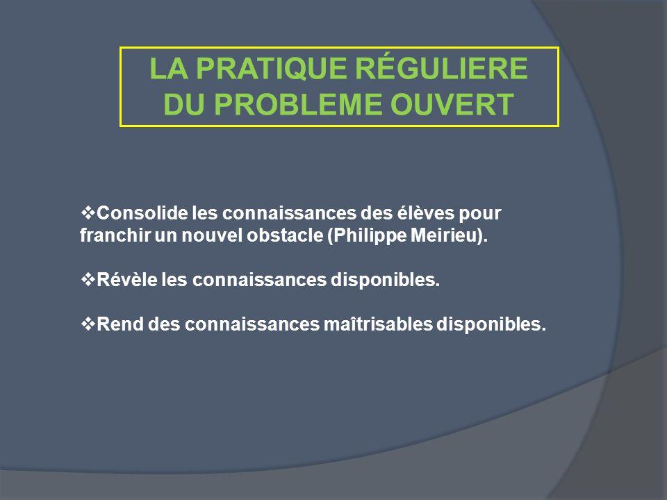 LA PRATIQUE RÉGULIERE DU PROBLEME OUVERT Consolide les connaissances des élèves pour franchir un nouvel obstacle (Philippe Meirieu). Révèle les connai