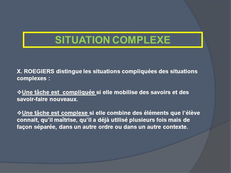 SITUATION COMPLEXE X. ROEGIERS distingue les situations compliquées des situations complexes : Une tâche est compliquée si elle mobilise des savoirs e