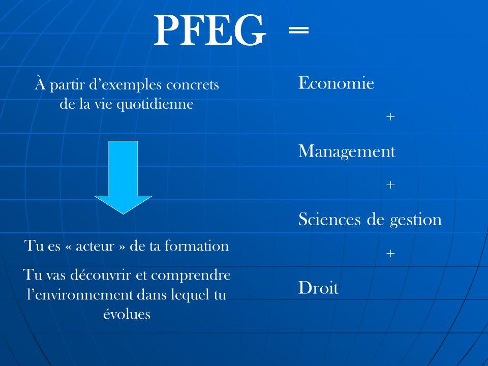 PFEG = Economie + Management + Sciences de gestion + Droit À partir dexemples concrets de la vie quotidienne Tu es « acteur » de ta formation Tu vas d