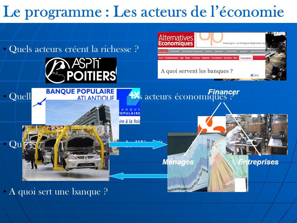 Le programme : Les acteurs de léconomie Quels acteurs créent la richesse ? Quelles sont les relations entre les acteurs économiques ? Quel est le rôle