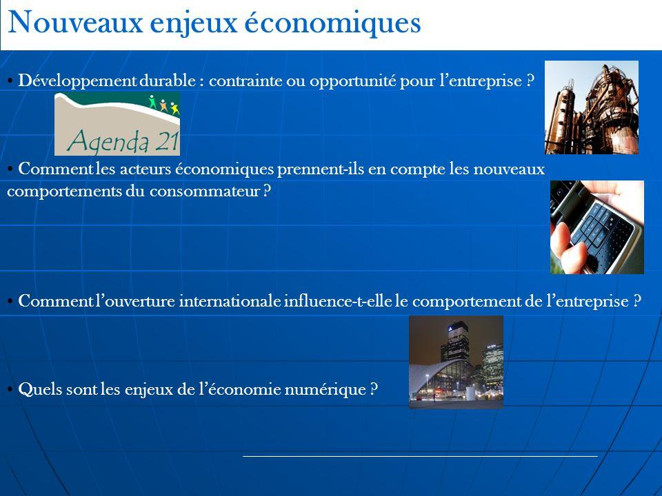 Nouveaux enjeux économiques Développement durable : contrainte ou opportunité pour lentreprise ? Comment les acteurs économiques prennent-ils en compt