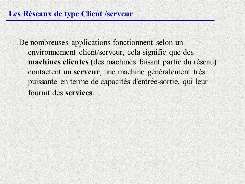 Les Réseaux de type Client /serveur De nombreuses applications fonctionnent selon un environnement client/serveur, cela signifie que des machines clie