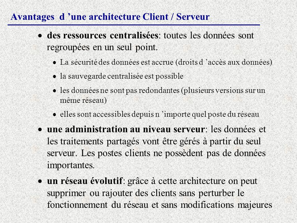 Avantages d une architecture Client / Serveur des ressources centralisées: toutes les données sont regroupées en un seul point. La sécurité des donnée