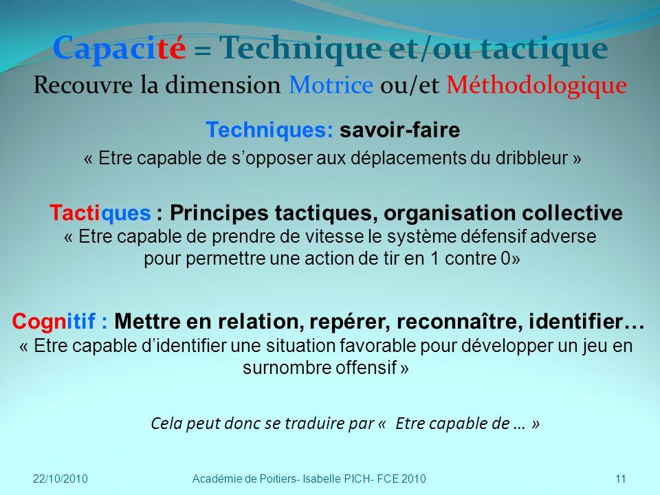Capacité = Technique et/ou tactique Techniques: savoir-faire « Etre capable de sopposer aux déplacements du dribbleur » Académie de Poitiers- Isabelle