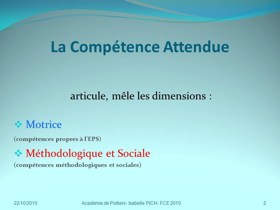 La Compétence Attendue articule, mêle les dimensions : Motrice (compétences propres à lEPS) Méthodologique et Sociale (compétences méthodologiques et