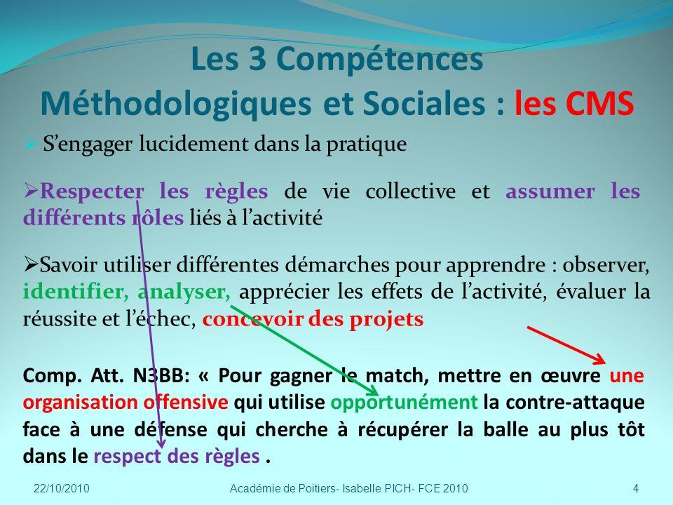 Les 3 Compétences Méthodologiques et Sociales : les CMS Sengager lucidement dans la pratique Académie de Poitiers- Isabelle PICH- FCE 20104 Comp. Att.