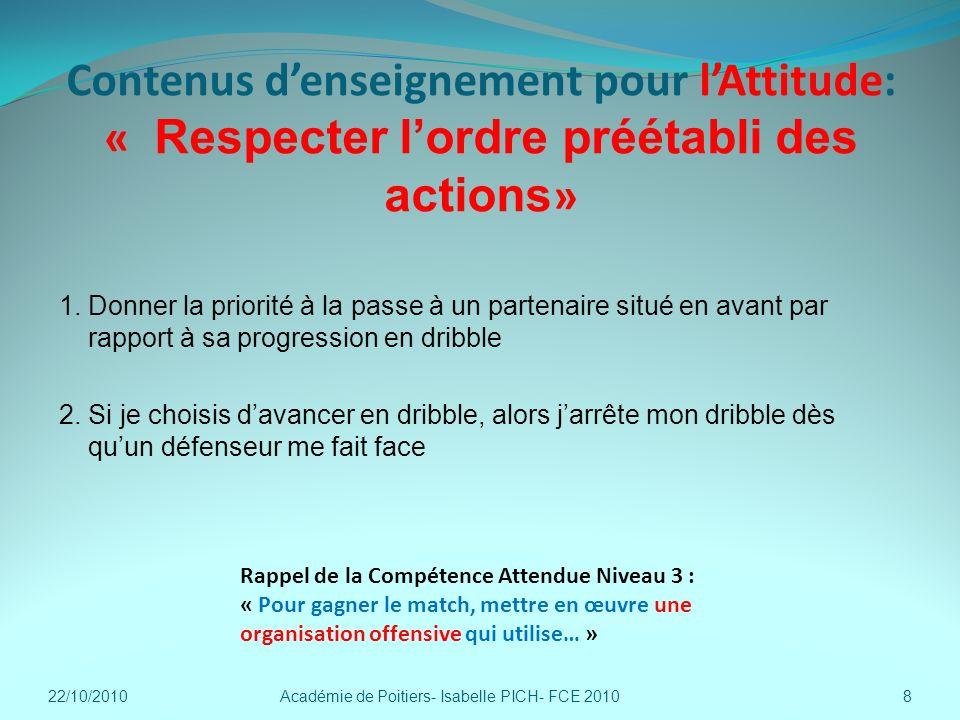 Contenus denseignement pour lAttitude: « Respecter lordre préétabli des actions » 1. Donner la priorité à la passe à un partenaire situé en avant par