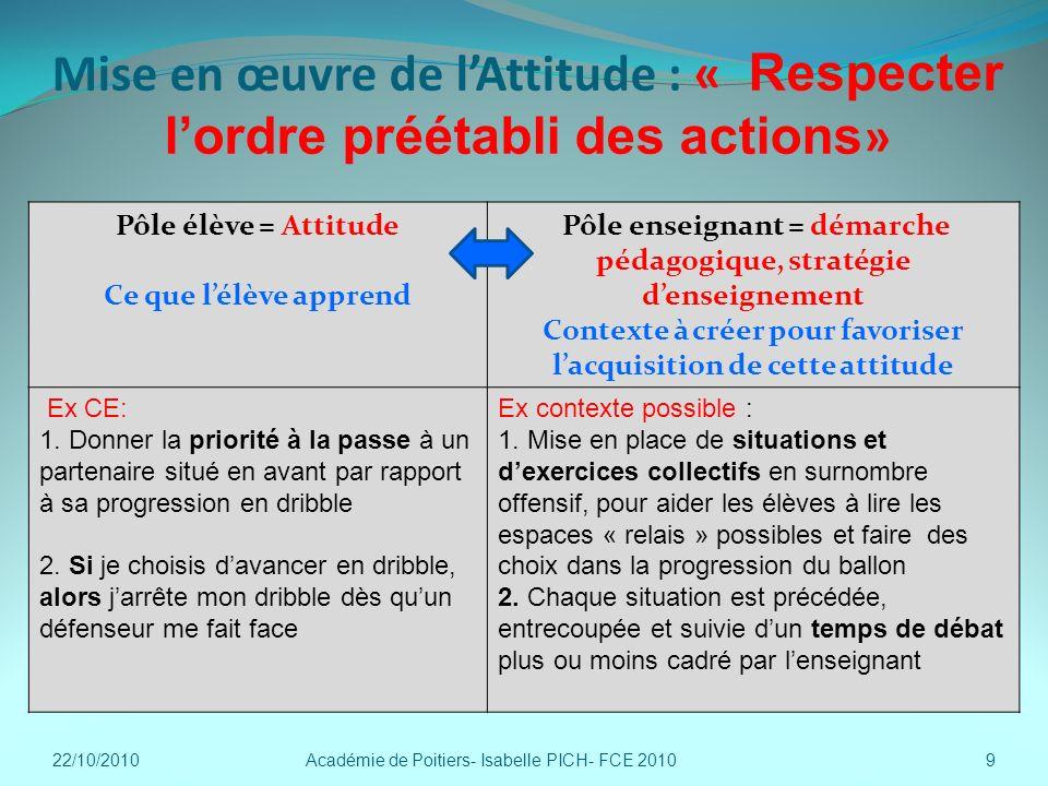 Mise en œuvre de lAttitude : « Respecter lordre préétabli des actions » 22/10/2010Académie de Poitiers- Isabelle PICH- FCE 20109 Pôle élève = Attitude