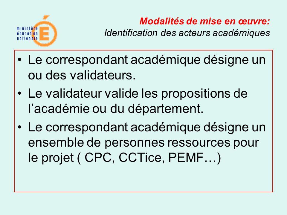 Modalités de mise en œuvre: Identification des acteurs académiques Le correspondant académique désigne un ou des validateurs. Le validateur valide les