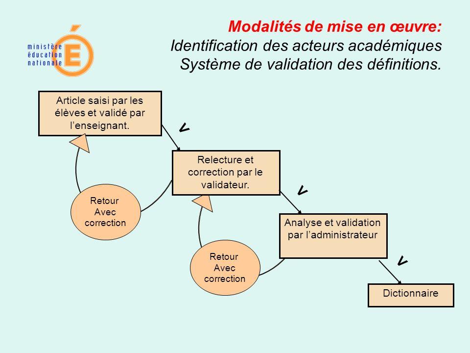 Retour Avec correction Modalités de mise en œuvre: Identification des acteurs académiques Système de validation des définitions. Article saisi par les