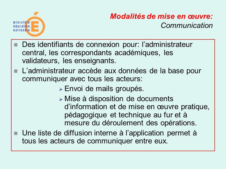 Modalités de mise en œuvre: Communication Des identifiants de connexion pour: ladministrateur central, les correspondants académiques, les validateurs