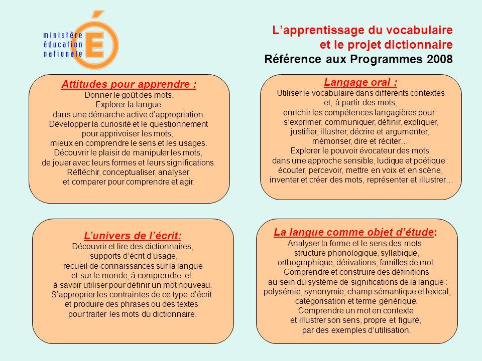 Lapprentissage du vocabulaire et le projet dictionnaire Référence aux Programmes 2008 Attitudes pour apprendre : Donner le goût des mots. Explorer la