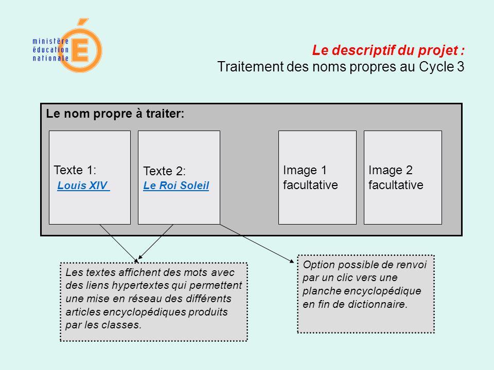 Le descriptif du projet : Traitement des noms propres au Cycle 3 Le nom propre à traiter: Texte 1: Louis XIV Texte 2: Le Roi Soleil Image 2 facultativ