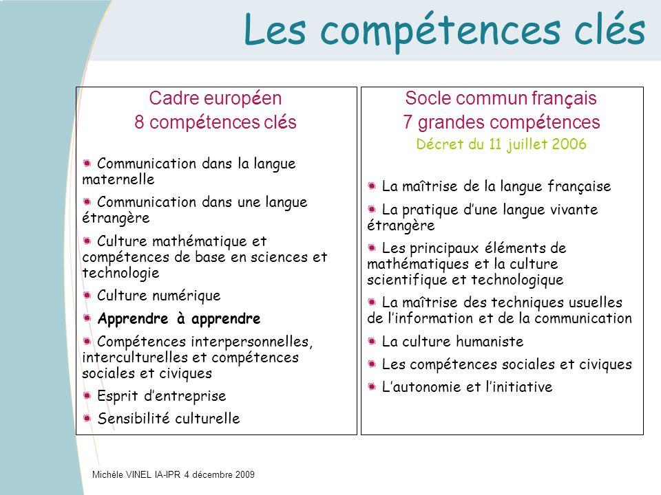 Les compétences clés Michèle VINEL IA-IPR 4 décembre 2009 Cadre europ é en 8 comp é tences cl é s Communication dans la langue maternelle Communicatio