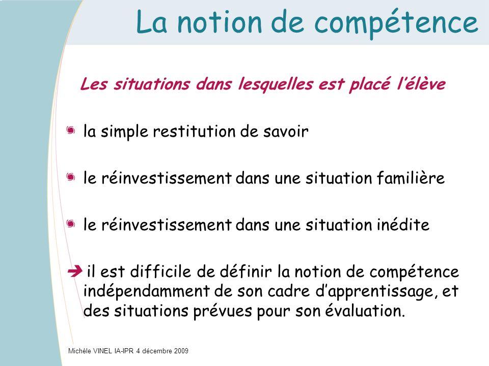 La notion de compétence Les situations dans lesquelles est placé lélève la simple restitution de savoir le réinvestissement dans une situation familiè