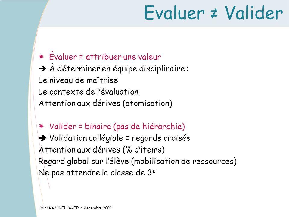 Evaluer Valider Michèle VINEL IA-IPR 4 décembre 2009 Évaluer = attribuer une valeur À déterminer en équipe disciplinaire : Le niveau de maîtrise Le co