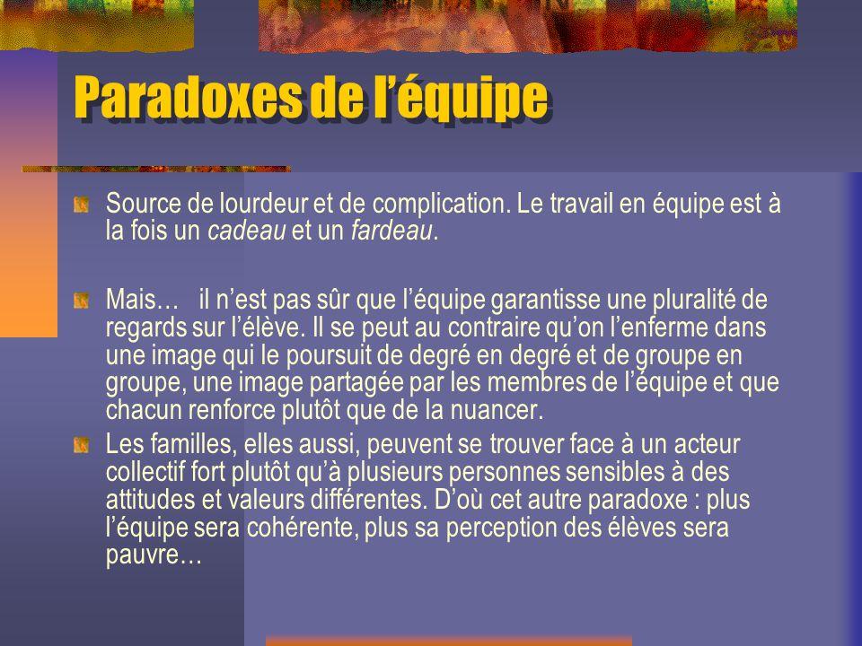Paradoxes de léquipe Source de lourdeur et de complication.