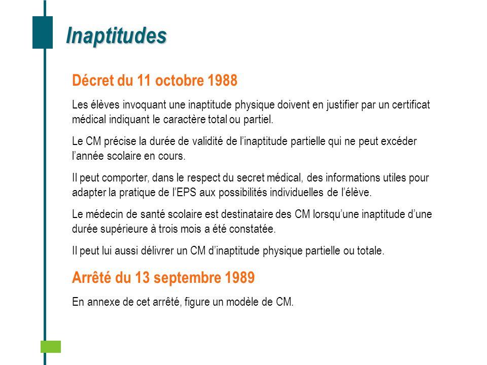 Inaptitudes Décret du 11 octobre 1988 Les élèves invoquant une inaptitude physique doivent en justifier par un certificat médical indiquant le caractè
