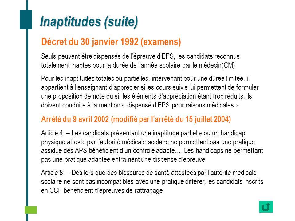 Inaptitudes (suite) Décret du 30 janvier 1992 (examens) Seuls peuvent être dispensés de lépreuve dEPS, les candidats reconnus totalement inaptes pour