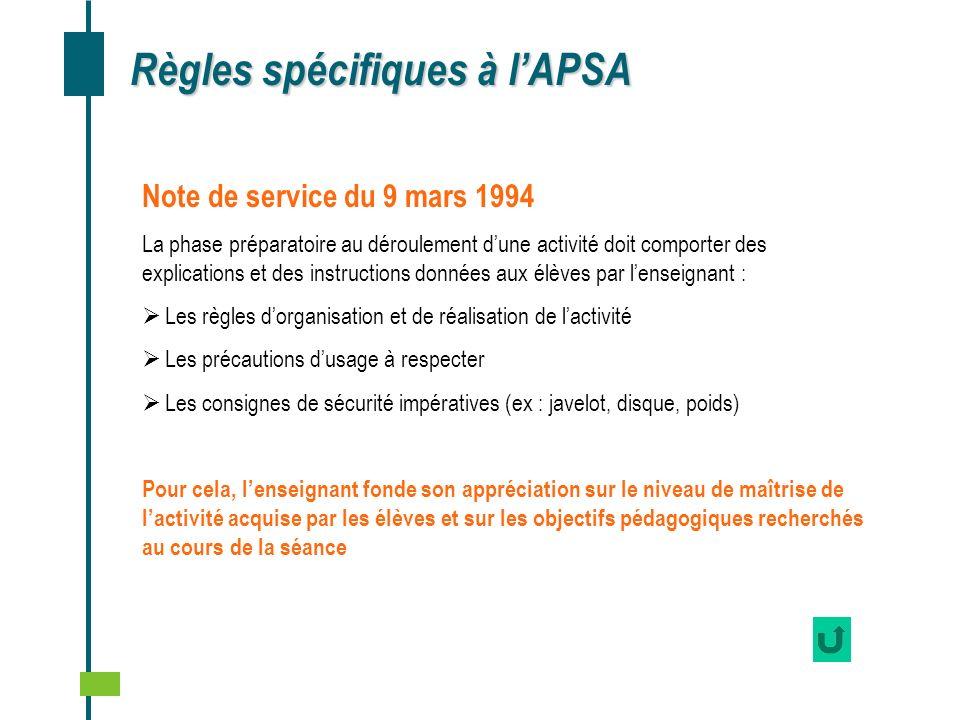Règles spécifiques à lAPSA Note de service du 9 mars 1994 La phase préparatoire au déroulement dune activité doit comporter des explications et des in