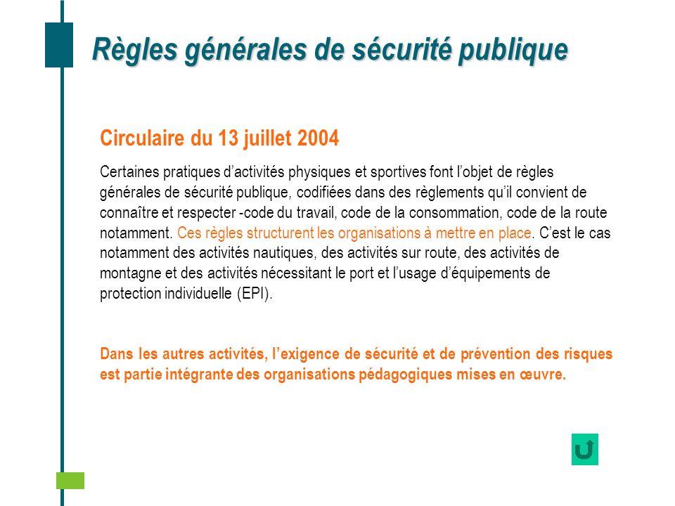 Règles générales de sécurité publique Circulaire du 13 juillet 2004 Certaines pratiques dactivités physiques et sportives font lobjet de règles généra