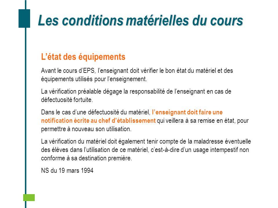 Les conditions matérielles du cours Létat des équipements Avant le cours dEPS, lenseignant doit vérifier le bon état du matériel et des équipements ut