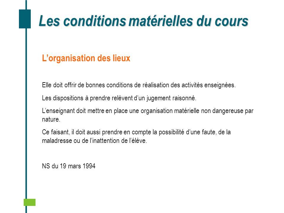 Les conditions matérielles du cours Lorganisation des lieux Elle doit offrir de bonnes conditions de réalisation des activités enseignées. Les disposi