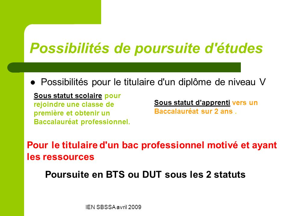 IEN SBSSA avril 2009 Possibilités de poursuite d'études Possibilités pour le titulaire d'un diplôme de niveau V Sous statut scolaire pour rejoindre un