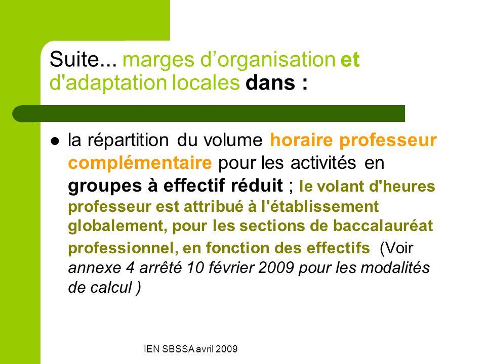 IEN SBSSA avril 2009 Suite... marges dorganisation et d'adaptation locales dans : la répartition du volume horaire professeur complémentaire pour les