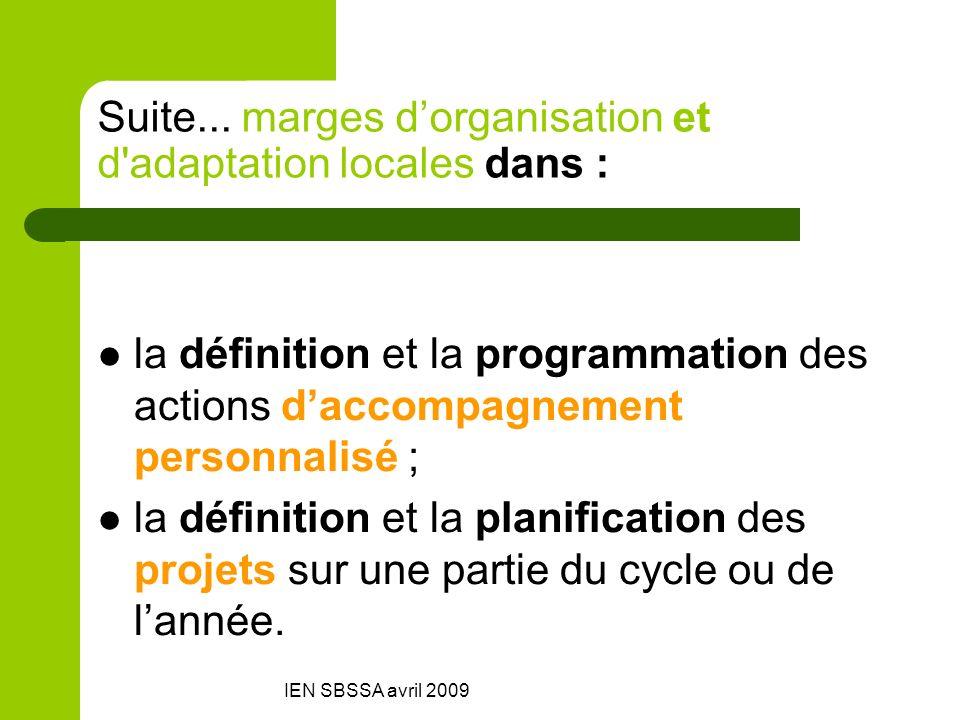 IEN SBSSA avril 2009 Suite... marges dorganisation et d'adaptation locales dans : la définition et la programmation des actions daccompagnement person