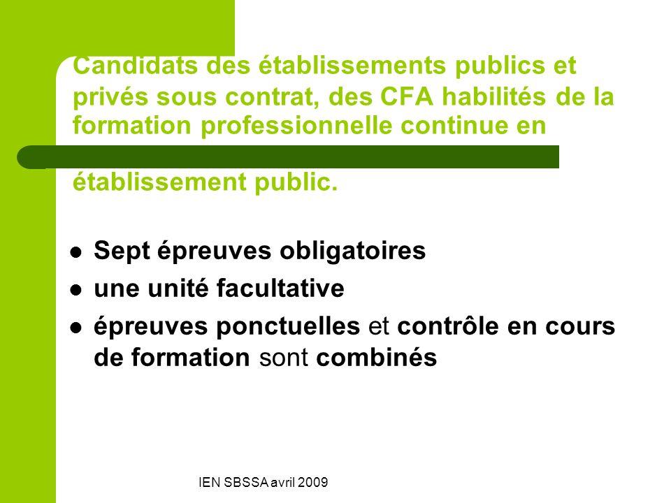 IEN SBSSA avril 2009 Candidats des établissements publics et privés sous contrat, des CFA habilités de la formation professionnelle continue en établi