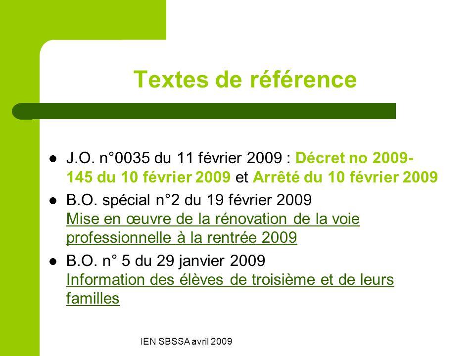 IEN SBSSA avril 2009 Textes de référence J.O. n°0035 du 11 février 2009 : Décret no 2009- 145 du 10 février 2009 et Arrêté du 10 février 2009 B.O. spé