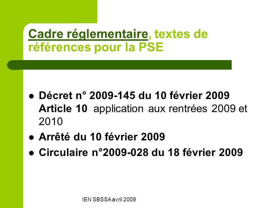 IEN SBSSA avril 2009 Cadre réglementaireCadre réglementaire, textes de références pour la PSE Décret n° 2009-145 du 10 février 2009 Article 10 applica