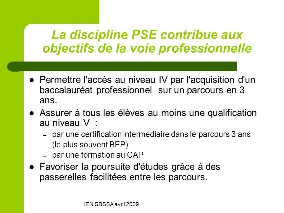 IEN SBSSA avril 2009 La discipline PSE contribue aux objectifs de la voie professionnelle Permettre l'accès au niveau IV par l'acquisition d'un baccal