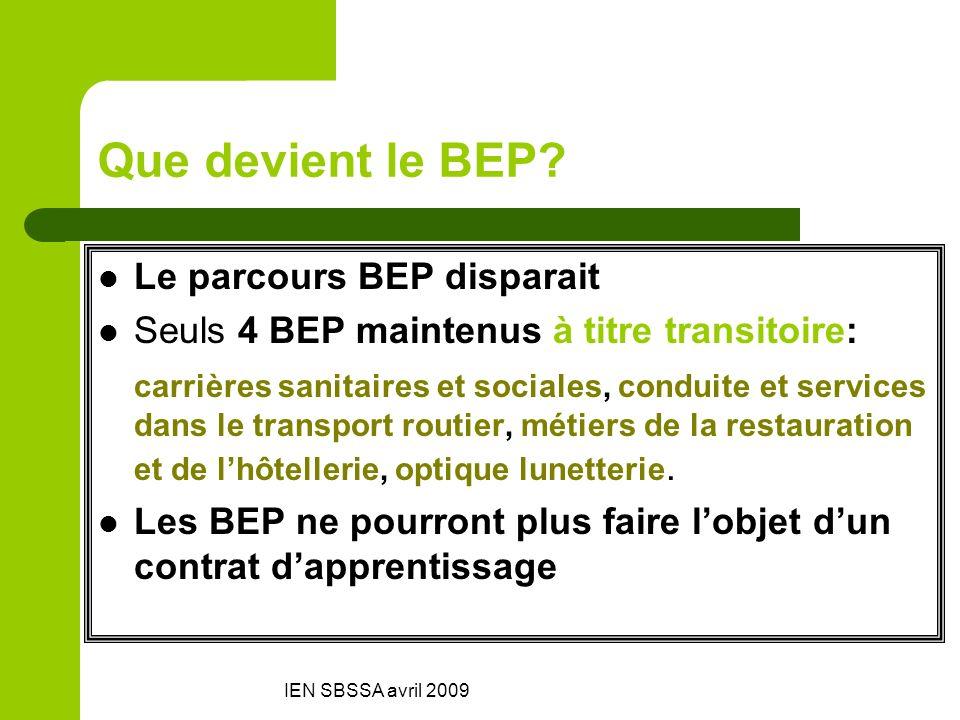 IEN SBSSA avril 2009 Que devient le BEP? Le parcours BEP disparait Seuls 4 BEP maintenus à titre transitoire: carrières sanitaires et sociales, condui