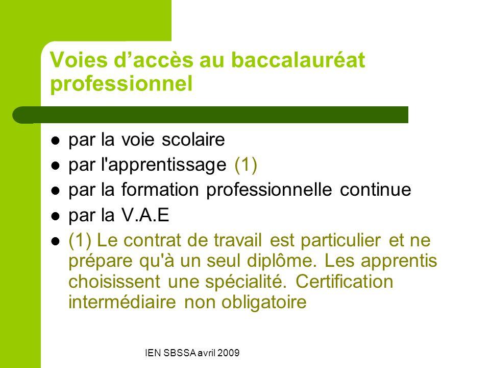 IEN SBSSA avril 2009 Voies daccès au baccalauréat professionnel par la voie scolaire par l'apprentissage (1) par la formation professionnelle continue
