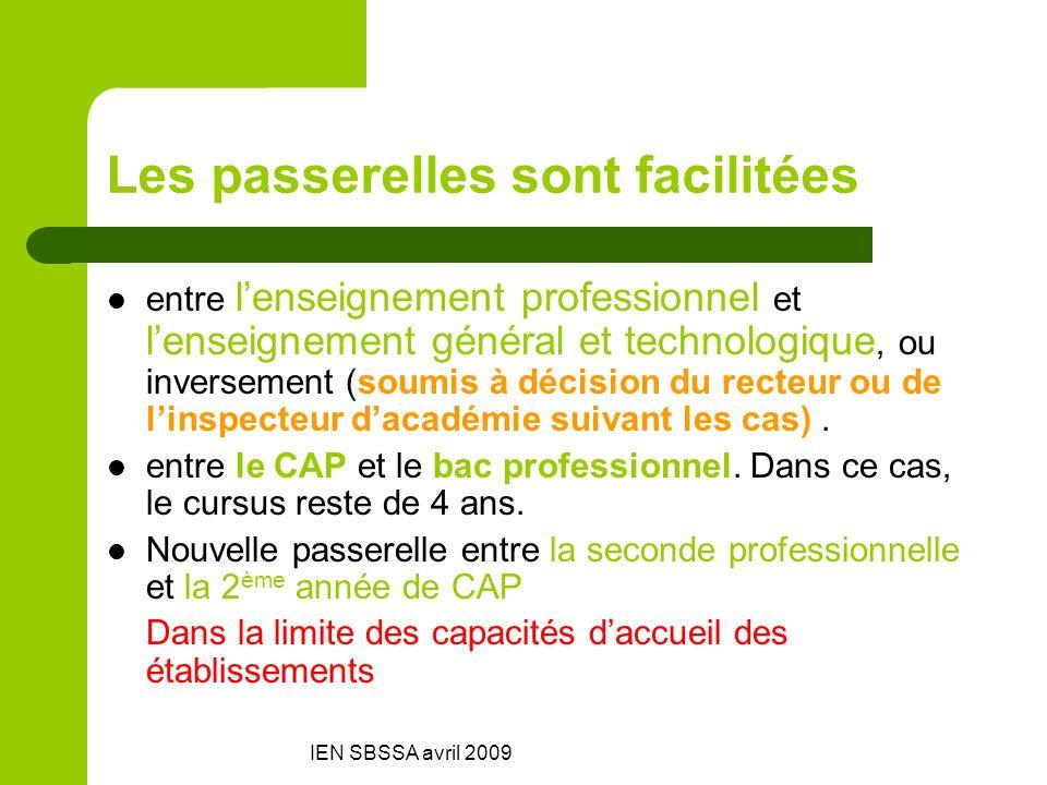 IEN SBSSA avril 2009 Les passerelles sont facilitées entre lenseignement professionnel et lenseignement général et technologique, ou inversement (soum