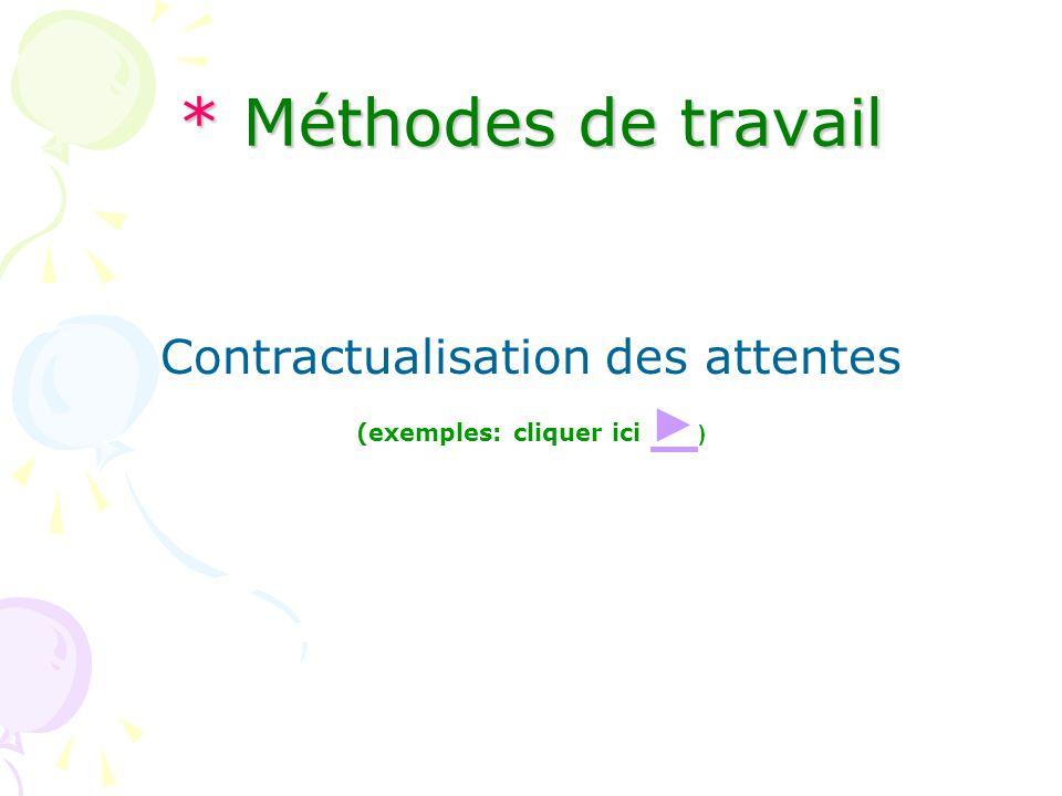 * Méthodes de travail Contractualisation des attentes (exemples: cliquer ici )