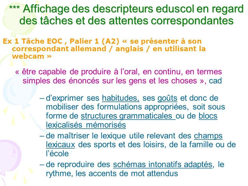 *** Affichage des descripteurs eduscol en regard des tâches et des attentes correspondantes Ex 1 Tâche EOC, Palier 1 (A2) « se présenter à son corresp