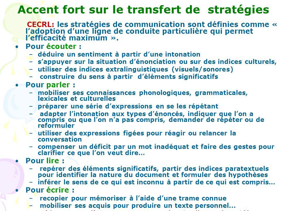 Accent fort sur le transfert de stratégies CECRL: les stratégies de communication sont définies comme « ladoption dune ligne de conduite particulière