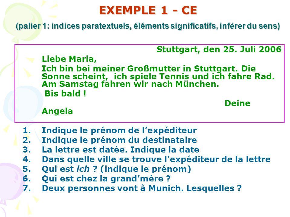 EXEMPLE 1 - CE (palier 1: indices paratextuels, éléments significatifs, inférer du sens) Stuttgart, den 25. Juli 2006 Liebe Maria, Ich bin bei meiner