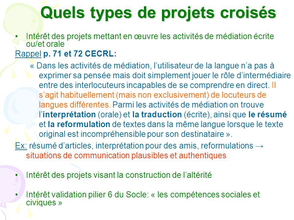 Quels types de projets croisés Intérêt des projets mettant en œuvre les activités de médiation écrite ou/et orale Rappel p. 71 et 72 CECRL: « Dans les
