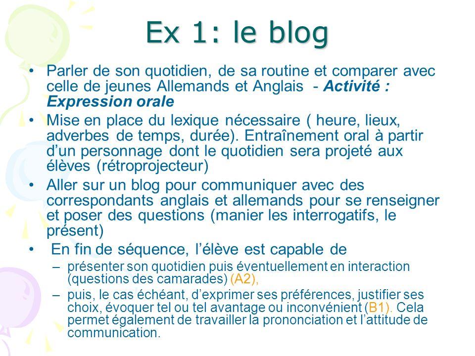 Ex 1: le blog Parler de son quotidien, de sa routine et comparer avec celle de jeunes Allemands et Anglais - Activité : Expression orale Mise en place