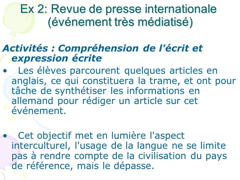 Ex 2: Revue de presse internationale (événement très médiatisé) Activités : Compréhension de l'écrit et expression écrite Les élèves parcourent quelqu