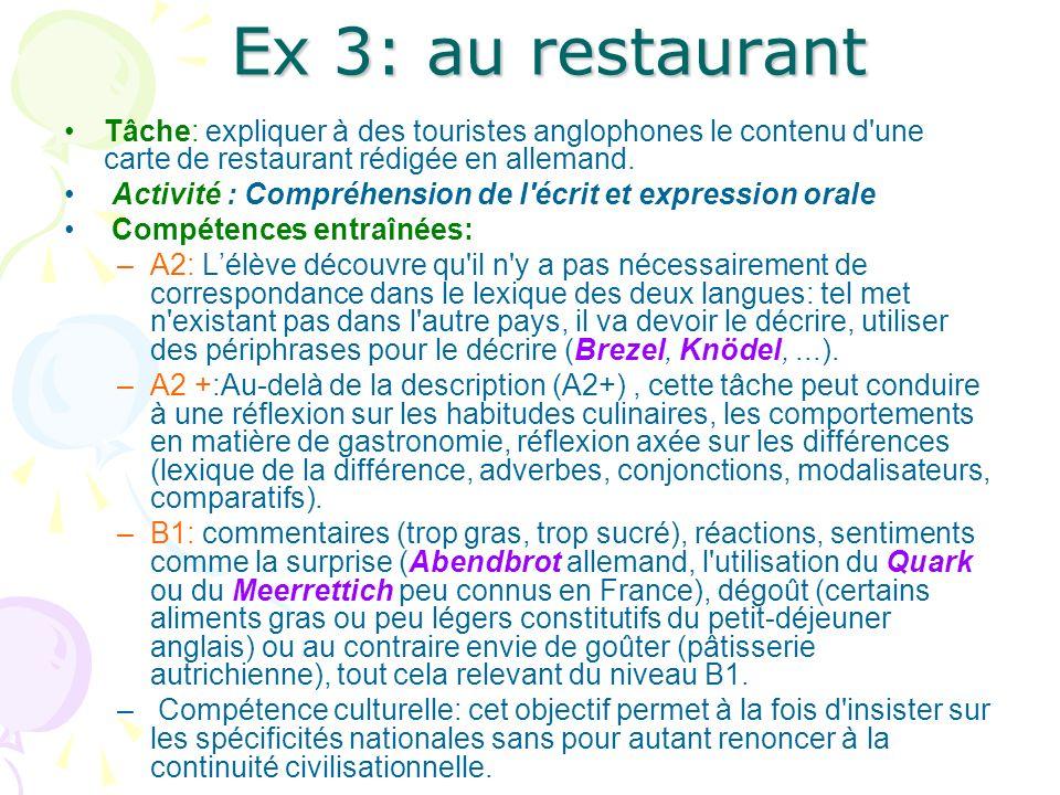 Ex 3: au restaurant Tâche: expliquer à des touristes anglophones le contenu d'une carte de restaurant rédigée en allemand. Activité : Compréhension de